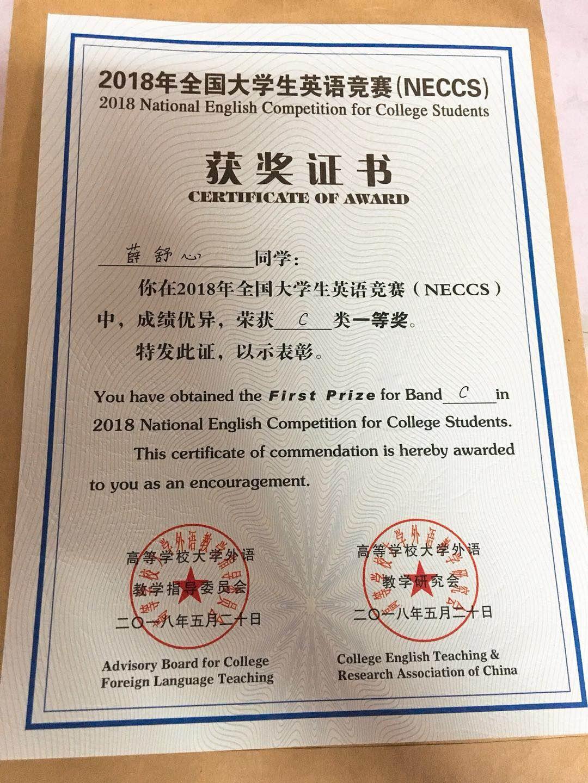 我院董敏,薛舒心获全国大学生英语竞赛决赛一等奖图片